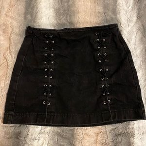 TopShop Black Denim Lace Up Skirt